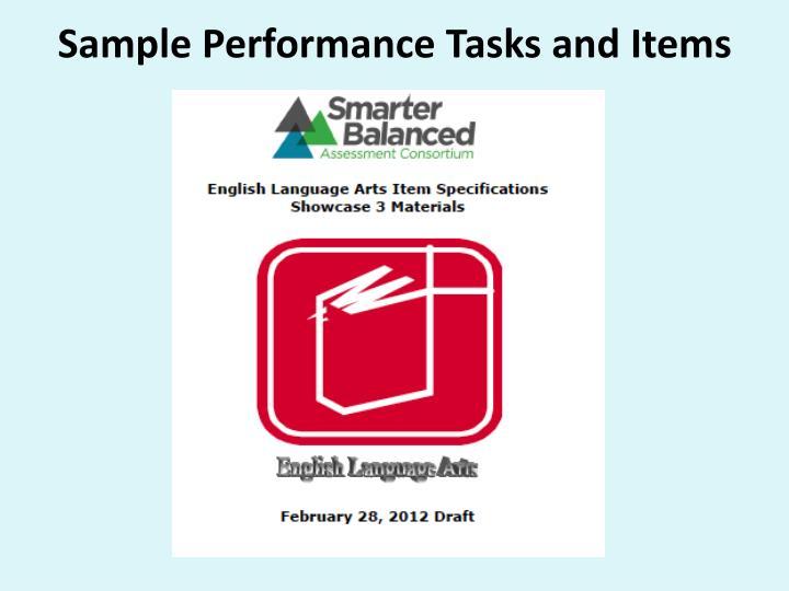 Sample Performance Tasks and Items