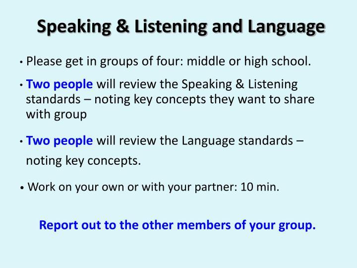 Speaking & Listening and Language