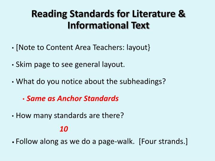 Reading Standards for