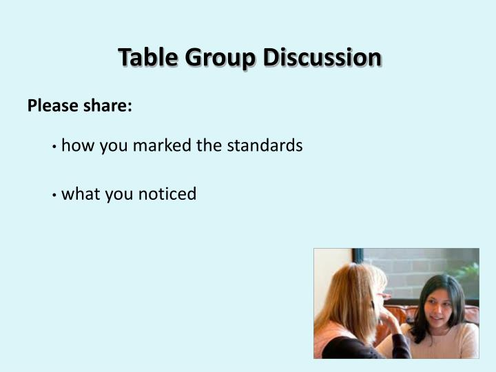 Table Group Discussion