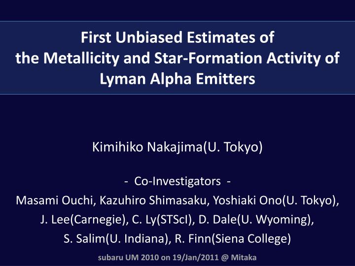 first unbiased estimates of the metallicity and star formation activity of lyman alpha emitters n.