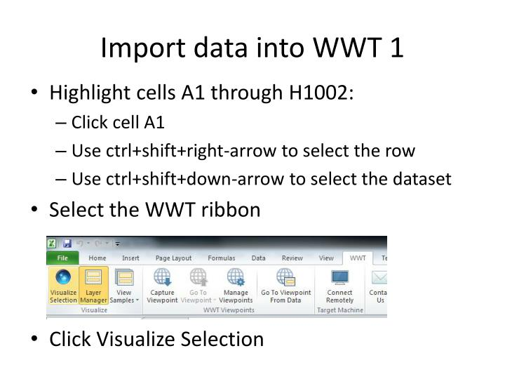 Import data into WWT 1