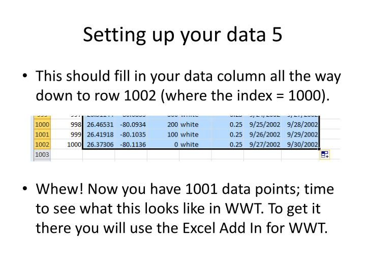 Setting up your data 5