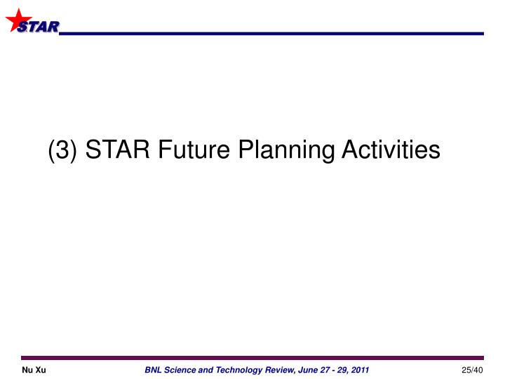 (3) STAR Future Planning Activities