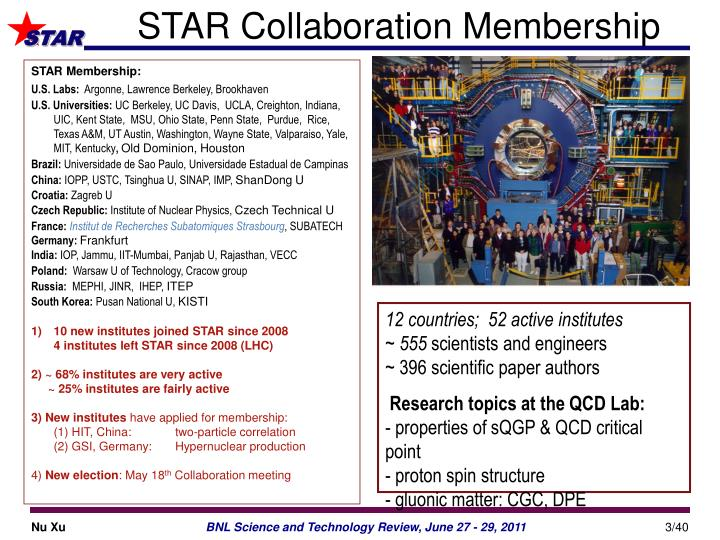 Star collaboration membership