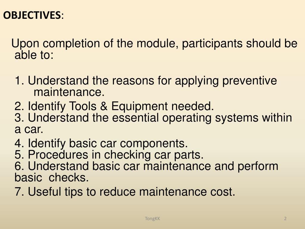 PPT - Basic Car Maintenance ( preventive ) PowerPoint