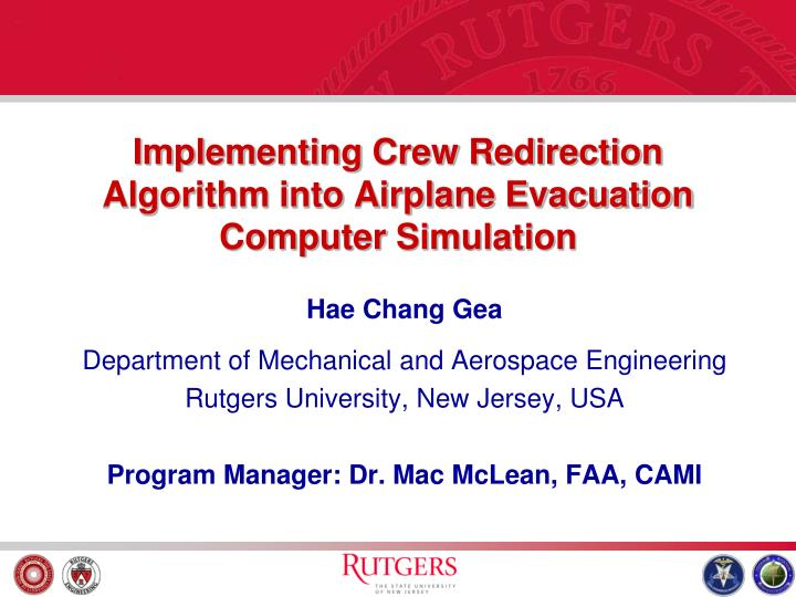 implementing crew redirection algorithm into airplane evacuation computer simulation n.