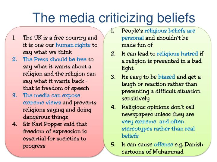 The media criticizing beliefs
