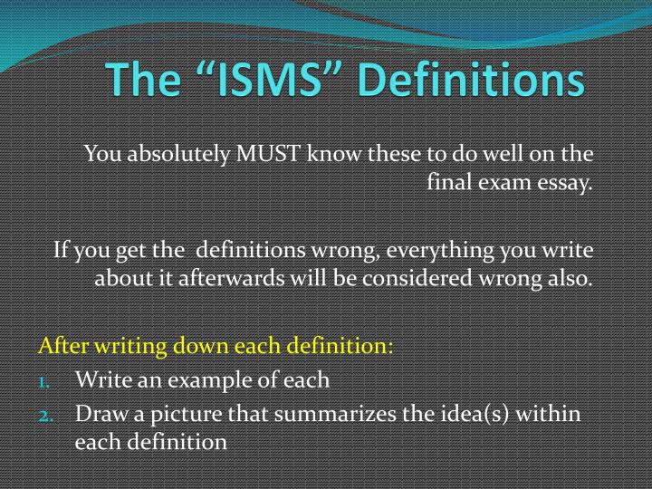 the isms definitions n.