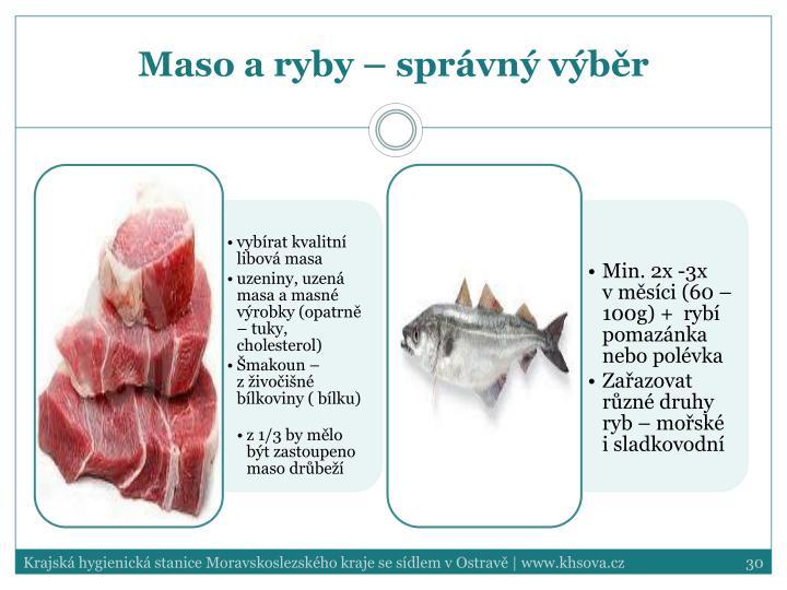Maso a ryby – správný výběr