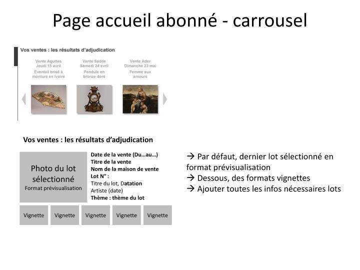 Page accueil abonné - carrousel