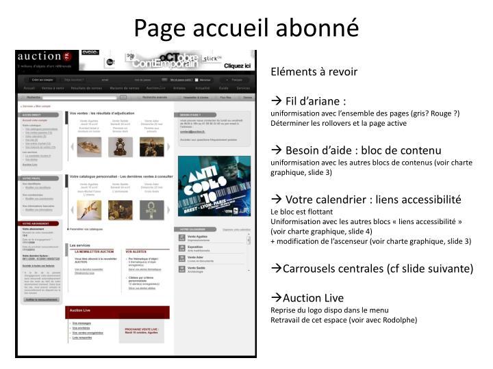 Page accueil abonné