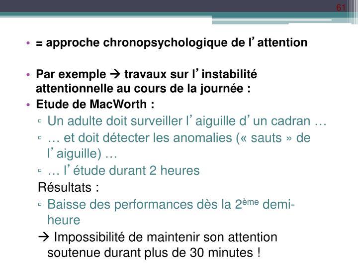 = approche chronopsychologique de l