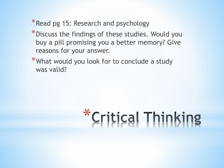 Read pg 15: Research and psychology