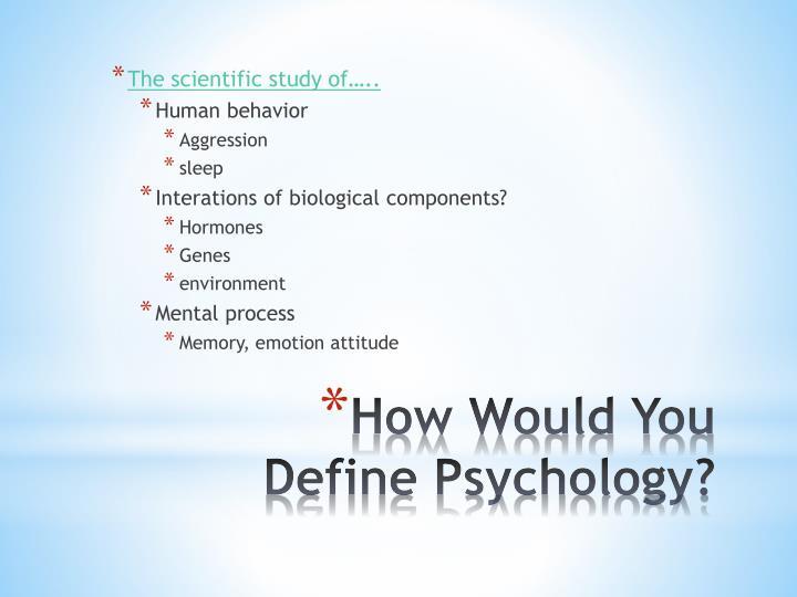 The scientific study of…..