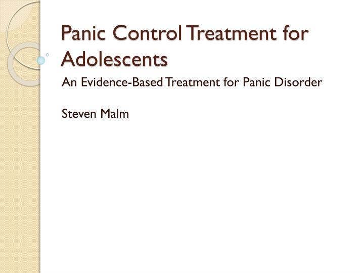 panic control treatment for adolescents n.