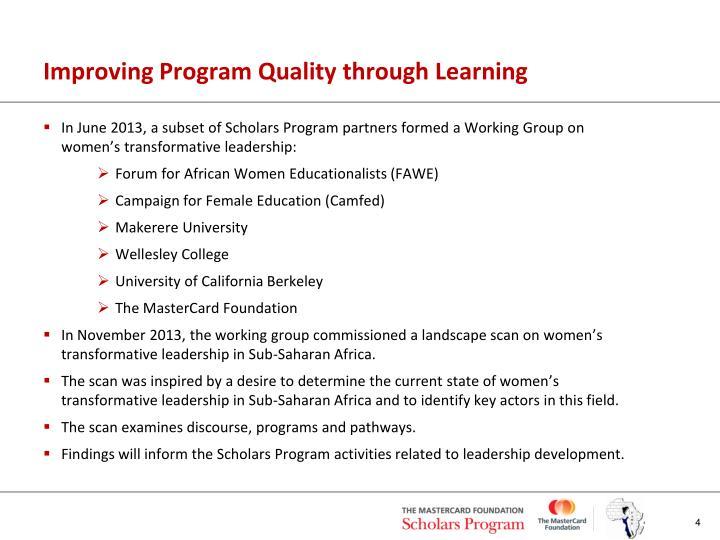 Improving Program Quality through Learning