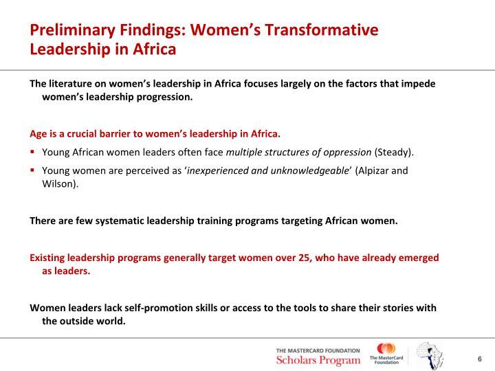 Preliminary Findings: Women's Transformative Leadership in Africa