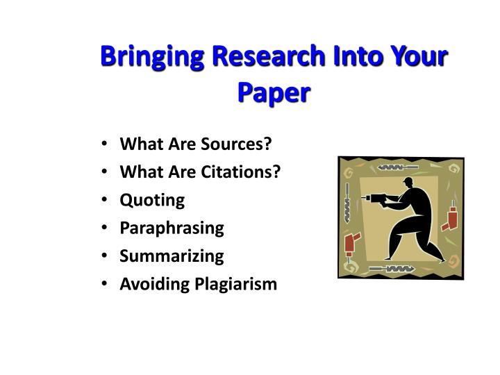 bringing research into your paper n.