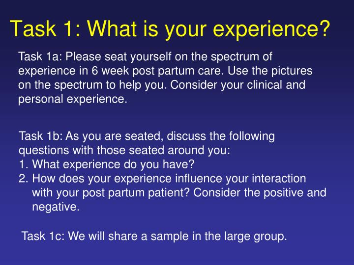 task 1 what is your experience n.