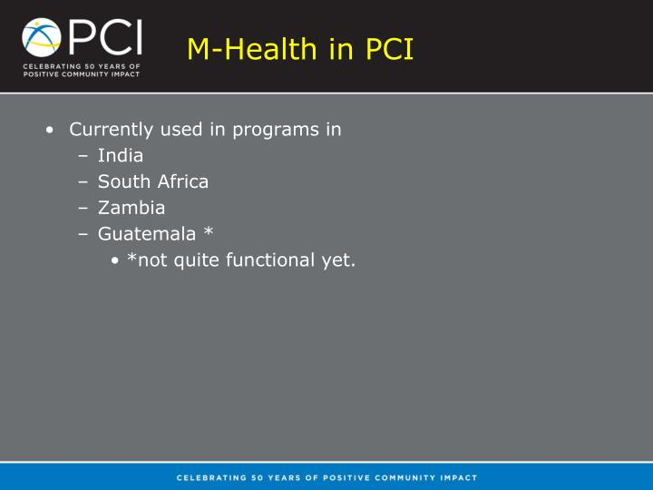 M-Health in PCI