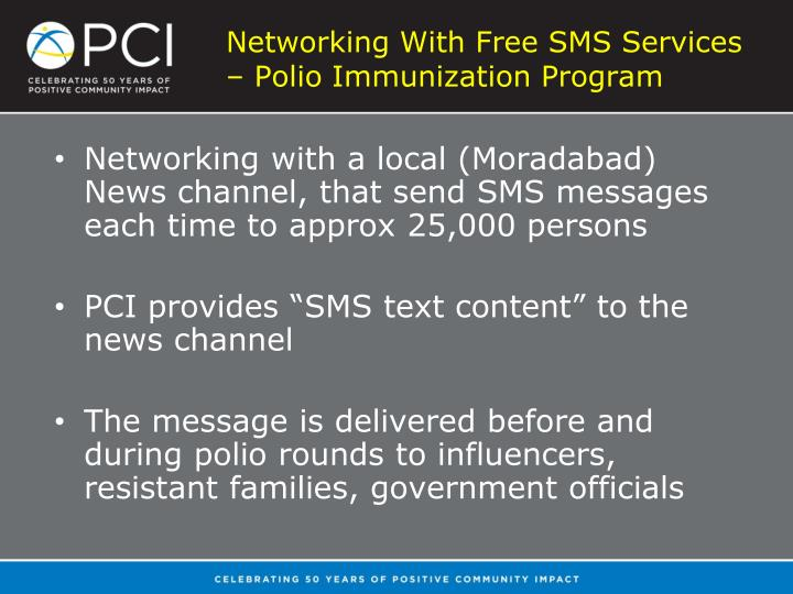 Networking With Free SMS Services – Polio Immunization Program
