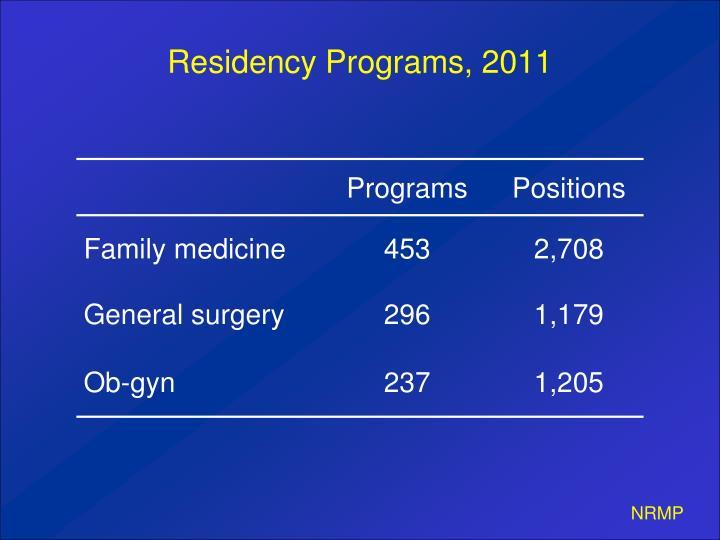 Residency Programs, 2011