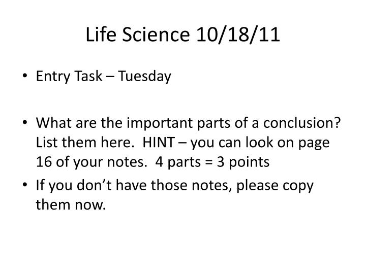 Life Science 10/18/11