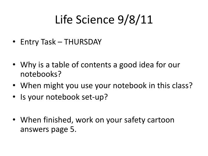 Life Science 9/8/11