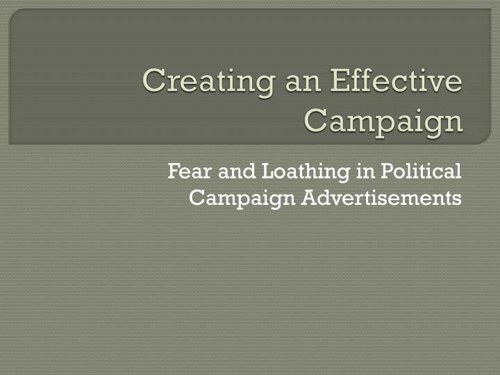 creating an effective campaign n.