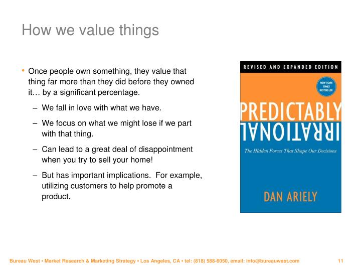How we value things