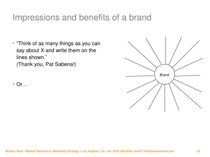 Impressions and benefits of a brand