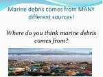 marine debris comes from many different sources