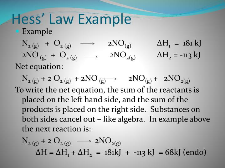 Hess' Law Example