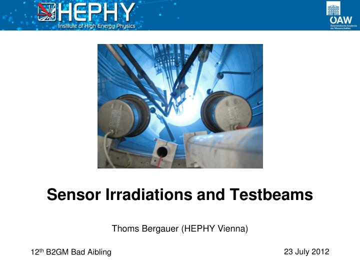 sensor irradiations and testbeams n.