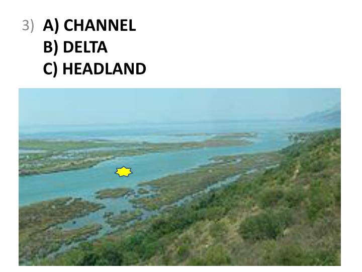 A channel b delta c headland
