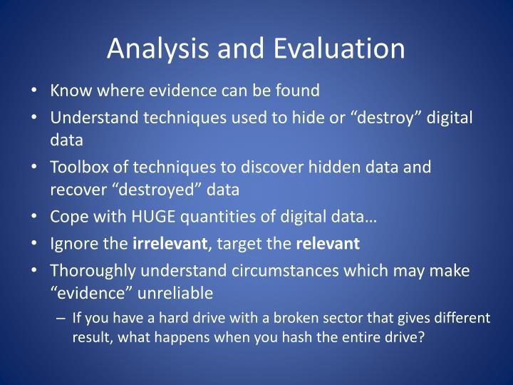 Analysis and Evaluation