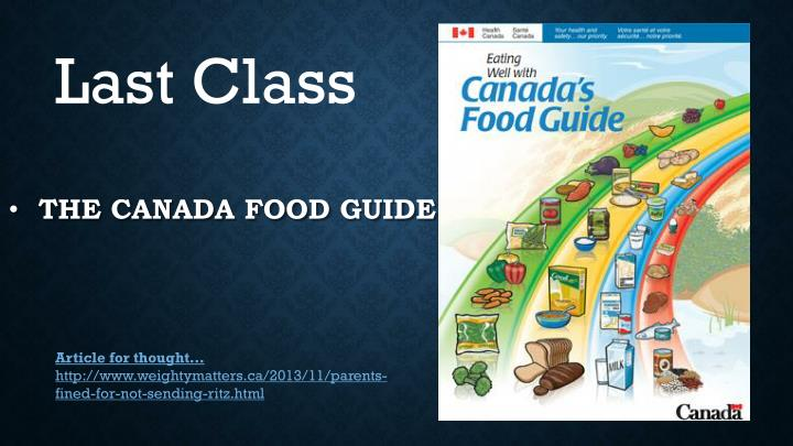 the canada food guide n.