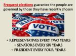 frequent elections guarantee the people are governed by those they have recently chosen