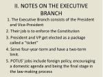 ii notes on the executive branch