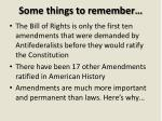 some things to remember