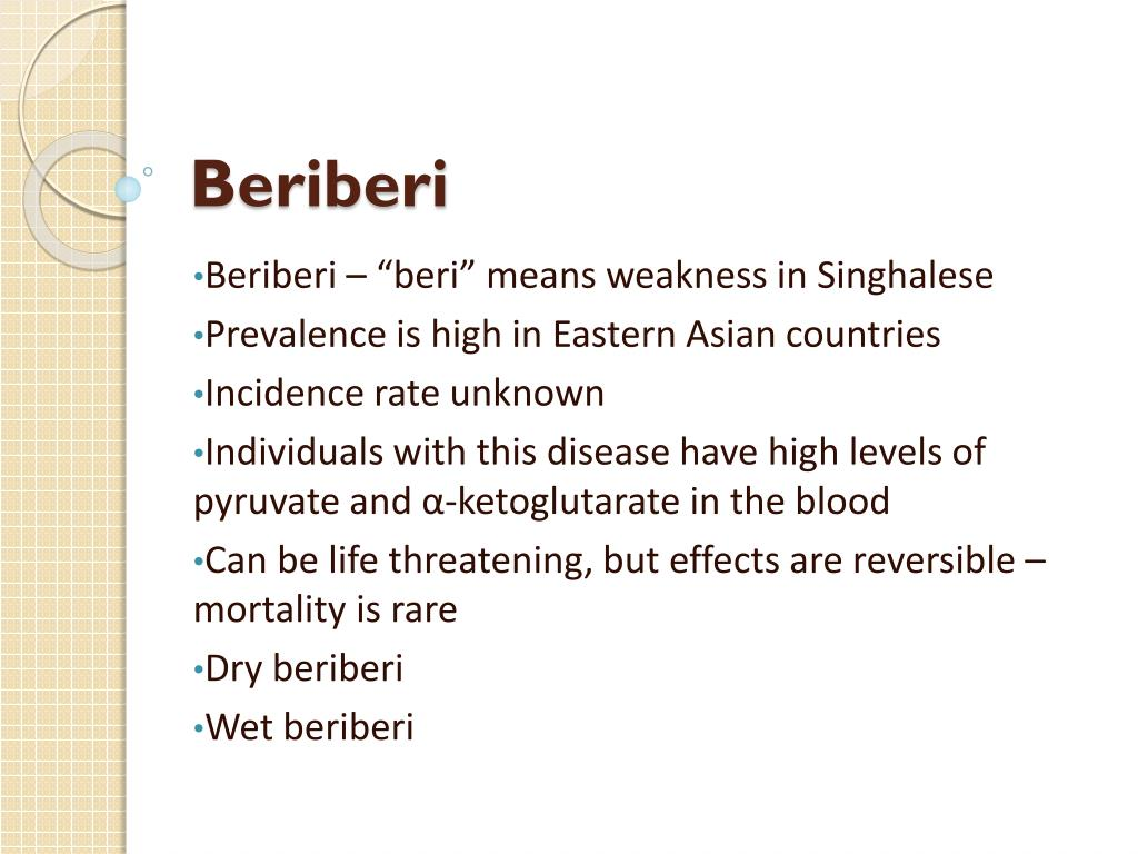 beri beri prevalence