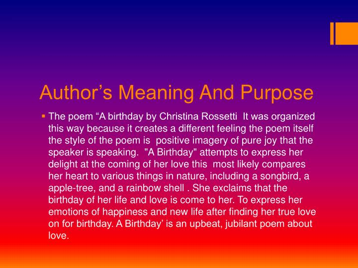 Author s meaning and purpose