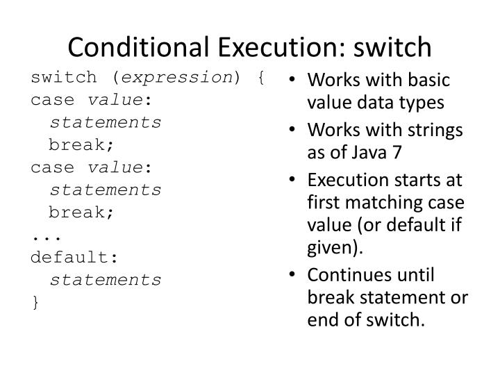 Conditional Execution: switch