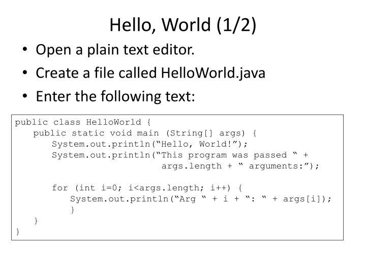 Hello, World (1/2)