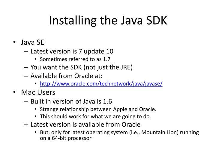 Installing the Java SDK