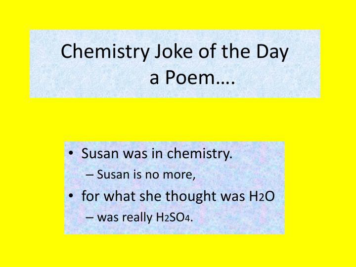 Chemistry joke of the day a poem