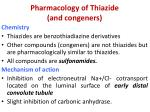 pharmacology of thiazide and congeners