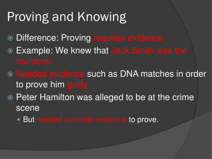 Proving and Knowing