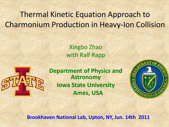 thermal kinetic equation approach to charmonium production in heavy ion collision n.